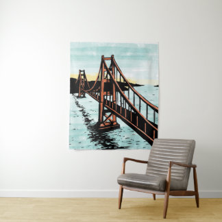 Golden Gate Bridge Wall Tapestry Woodcut Style