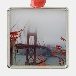 Golden Gate Bridge with Orange Flowers Metal Ornament