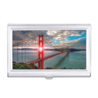 Golden Gate Bridge with Sun Shining through. Business Card Holders