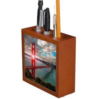 Golden Gate Bridge with Sun Shining through. Desk Organiser