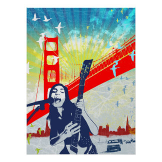 Golden Gate Guitarist Poster