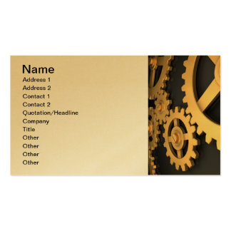 Golden Gears Working Together Business Card