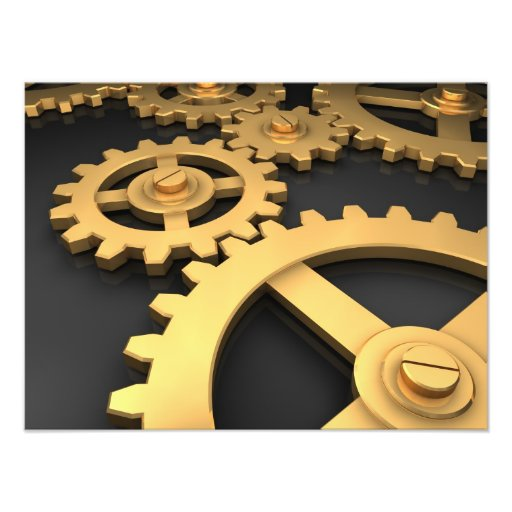 Golden Gears Working Together Art Photo