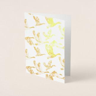 Golden Geese in Flight Waterfowl Animals Foil Card