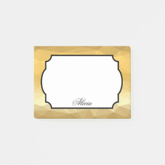 Golden geometric background post it notes