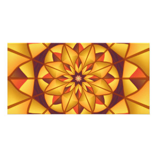 Golden geometric flourish photo card template
