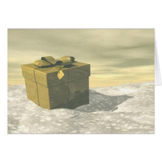 Golden gift for Christmas Card