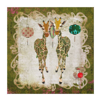 Golden Giraffes Olive Twilight Canvas