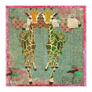 Golden Giraffes Pink Twilight Canvas Gallery Wrapped Canvas