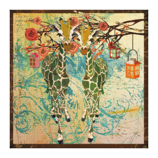 Golden Giraffes Rose Garden Canvas Stretched Canvas Print