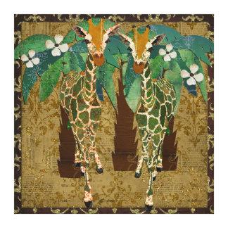 Golden Giraffes Tropicana Canvas