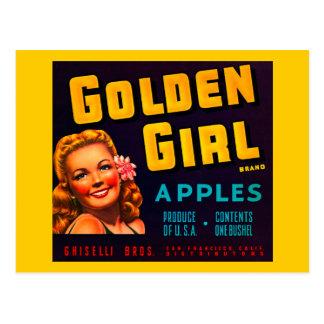 Golden Girl Brand Apples - Vintage Crate Label Postcard