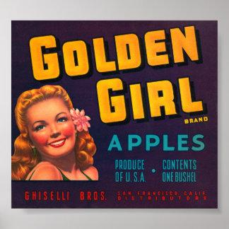 Golden Girl Brand Apples VIntage Crate Label Poster