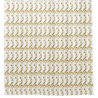 golden girly music notes shower curtain