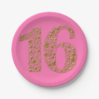 Golden Glam 16 Sixteen 16th Birthday ANY COLOR Paper Plate