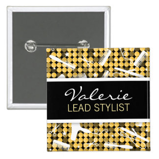 Golden Glam Custom Hair Salon Name Badge Buttons
