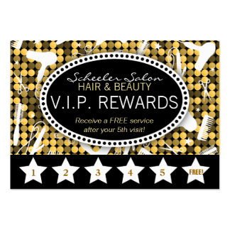 Golden Glam Custom Salon Loyalty Punch Card Pack Of Chubby Business Cards