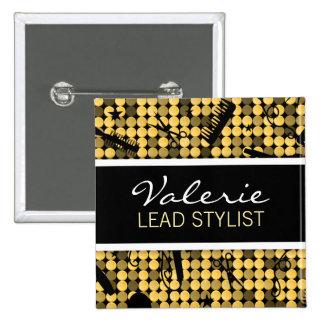 Golden Glam Hair Salon Name Badge Button