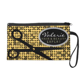 Golden Glam Hair Shears Custom Wristlet Bag