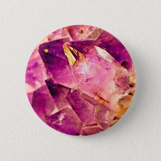 Golden Gleaming Amethyst Crystal 6 Cm Round Badge