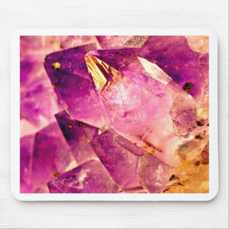 Golden Gleaming Amethyst Crystal Mouse Pad