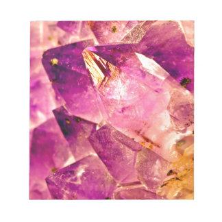 Golden Gleaming Amethyst Crystal Notepad