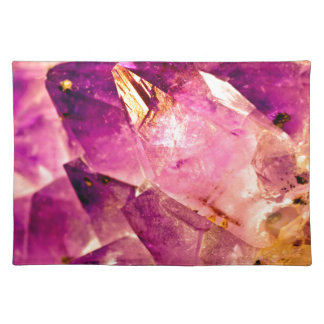 Golden Gleaming Amethyst Crystal Placemat
