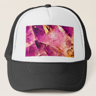 Golden Gleaming Amethyst Crystal Trucker Hat