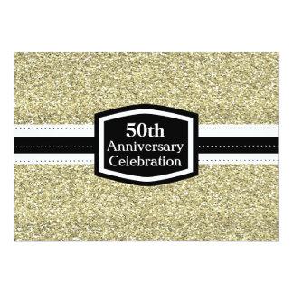 Golden Glitter 50th Anniversary Card