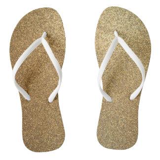 Golden Glitter Abstract Art Slim Strap Sandals