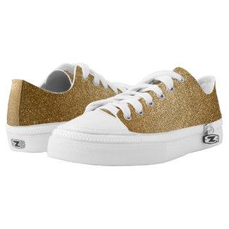 Golden Glitter Abstract Art Zipz Low Top Sneakers
