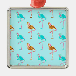 Golden Glitter and Blue Flamingo Pattern Silver-Colored Square Decoration
