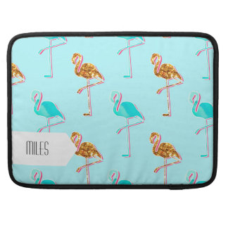 Golden Glitter and Blue Flamingo Pattern Sleeve For MacBook Pro