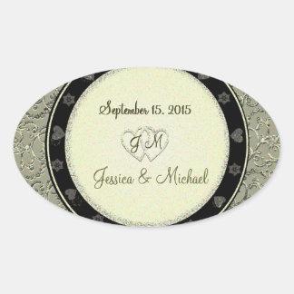 Golden Glitter Hearts Wedding Stickers Oval Sticker