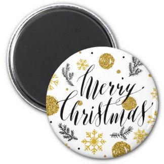 Golden glitter Merry christmas hand scripted 6 Cm Round Magnet