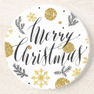 Golden glitter Merry christmas hand scripted Coasters