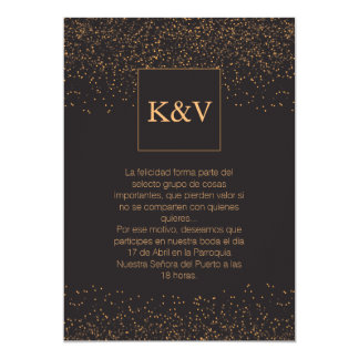 Golden Glitter Personalized Invitation in Spanish