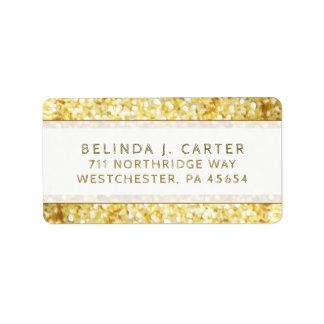 Golden Glitter Simplicity Address Label