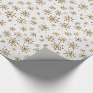 Golden Glitter Snowflakes Wrapping Paper