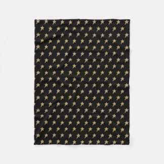 Golden Glitter Stars Pattern Fleece Blanket