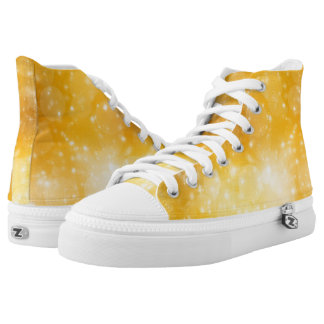 Golden Glitter Style Printed Shoes