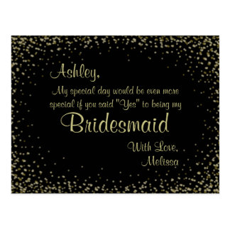 Golden Glitter - Will You Be My Bridesmaid? Postcard