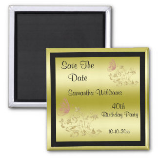 Golden Glitters & Sparkly Butterfly 40th Birthday Square Magnet