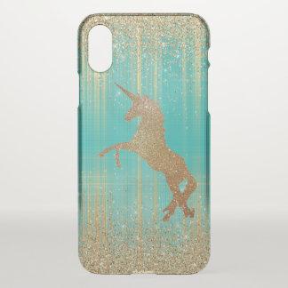 Golden Glittery Unicorn iPhone X Case