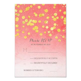 golden glitz pink coral wedding RSVP cards