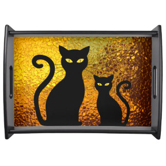 Golden Glow Textured Black Cat Kittens Serving Tray