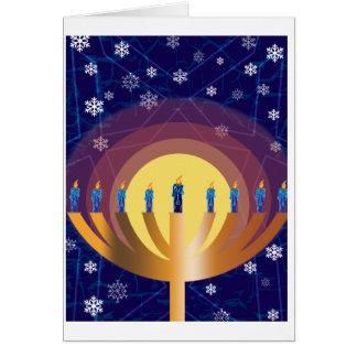 Golden Glowing Hanukkah Menorah Greeting Card