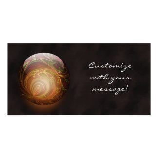 Golden Glowing Round Marble, Custom Photo Greeting Card