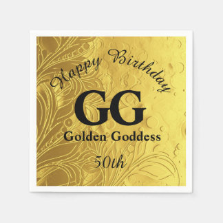 Golden Goddess Celebrate Happy 50th Birthday Party Disposable Napkins