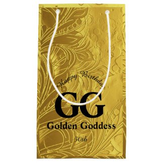 Golden Goddess Celebrate Happy 50th Birthday Party Small Gift Bag